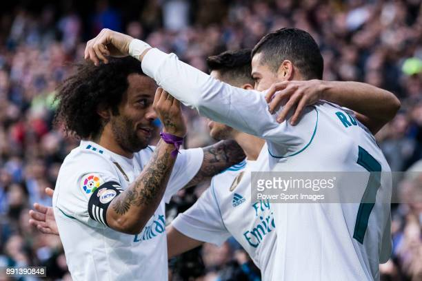 Cristiano Ronaldo of Real Madrid celebrating his score with Marco Asensio of Real Madrid and Marcelo da Silva of Real Madrid during the La Liga...