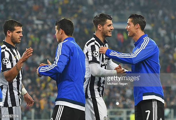 Cristiano Ronaldo of Real Madrid CF and Alvaro Morata of Juventus shake hands prior to the UEFA Champions League semi final first leg match between...
