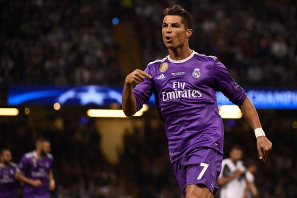 Cristiano Ronaldo of Real Madrid CF celebrate after scoring... : News Photo
