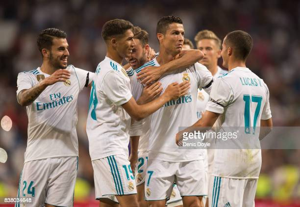 Cristiano Ronaldo of Real Madrid CF celebrates after scoring his teamÕs 2nd goalduring the Santiago Bernabeu Trophy match between Real Madrid CF and...