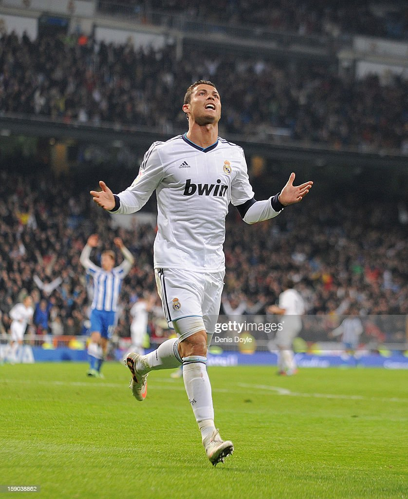 Cristiano Ronaldo of Real Madrid CF celebrates after scoring his team's 3rd goal during the La Liga match between Real Madrid CF and Real Sociedad de Futbol at estadio Santiago Bernabeu on January 6, 2013 in Madrid, Spain.