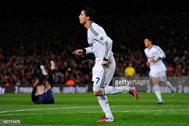 Cristiano Ronaldo of Real Madrid CF celebrates after scoring his team's second goal during the Copa del Rey Semi Final second leg between FC...