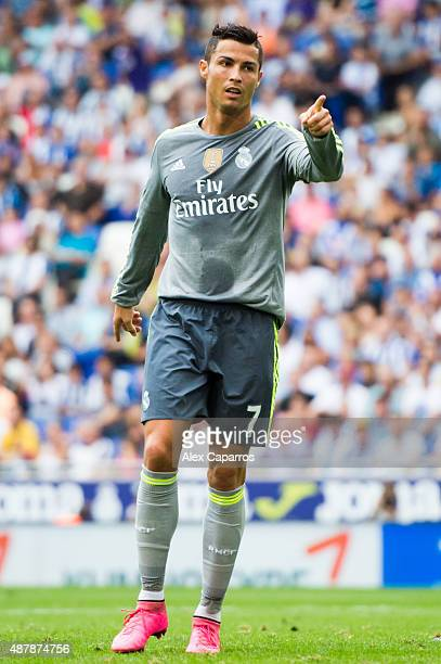 Cristiano Ronaldo of Real Madrid CF celebrates after scoring his team's fifth goal during the La Liga match between RCD Espanyol and Real Madrid CF...