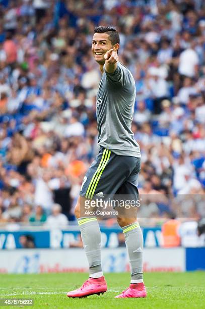 Cristiano Ronaldo of Real Madrid CF celebrates after scoring his team's sixth goal during the La Liga match between RCD Espanyol and Real Madrid CF...