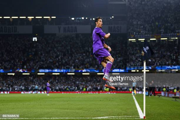 Cristiano Ronaldo of Real Madrid CF celebrates after scoring his team's first goal during the UEFA Champions League Final between Juventus and Real...