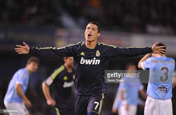 Cristiano Ronaldo of Real Madrid CF celebrates after scoring Real's opening goal during the La Liga match between RC Celta de Vigo and Real Madrid CF...