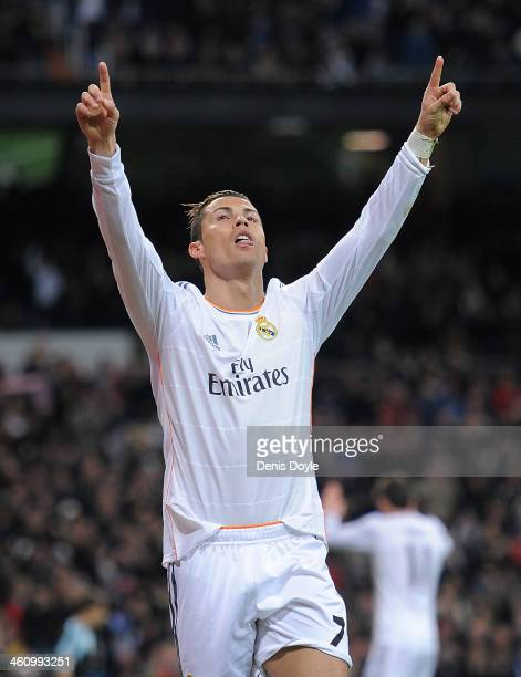 Cristiano Ronaldo of Real Madrid CF celebrates after scoring Real's 2nd goal during the La Liga match between Real Madrid CF and RC Celta de Vigo at...