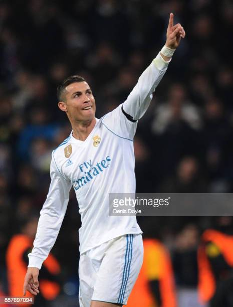 Cristiano Ronaldo of Real Madrid CF celebrates after scoring Real's second goal during the UEFA Champions League group H match between Real Madrid...