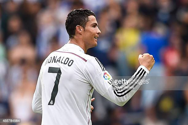 Cristiano Ronaldo of Real Madrid CF celebrates after scoring the opening goal during the La Liga match between RC Deportivo La Coruna and Real Madrid...