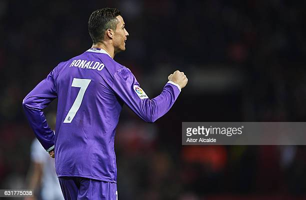 Cristiano Ronaldo of Real Madrid CF celebrates after scoring the first goal for Real Madrid CF during the La Liga match between Sevilla FC and Real...