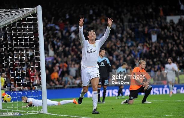 Cristiano Ronaldo of Real Madrid CF celebrates after scoring their second goal during the La Liga match between Real Madrid CF and RC Celta de Vigo...