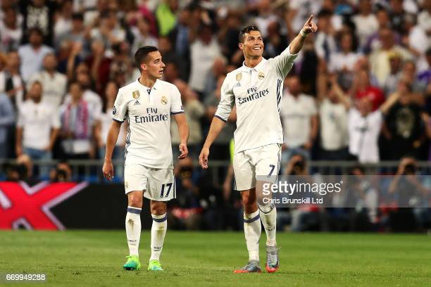 Cristiano Ronaldo of Real Madrid CF celebrates scoring his side's second goal during the UEFA Champions League Quarter Final second leg match between...
