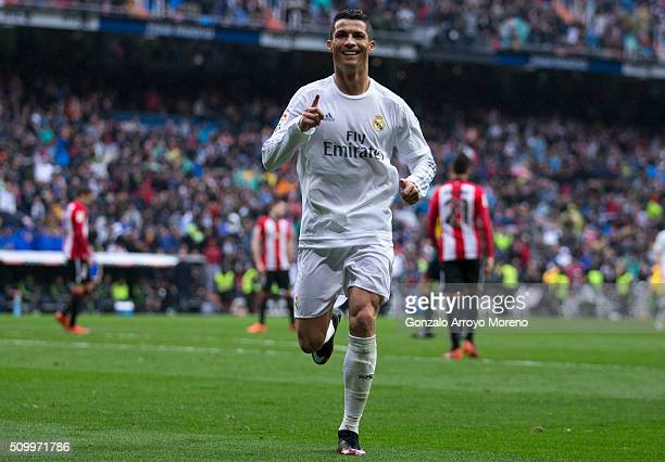 Cristiano Ronaldo of Real Madrid CF celebrates scoring their fourth goal during the La Liga match between Real Madrid CF and Athletic Club at Estadio...