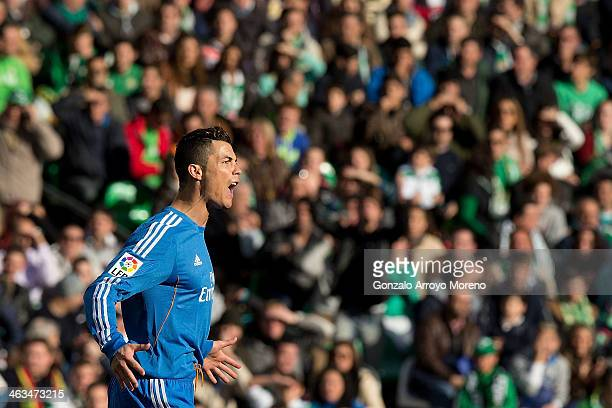 Cristiano Ronaldo of Real Madrid CF celebrates scoring their opening goal during the La Liga match between Real Betis Balompie and Real Madrid CF at...