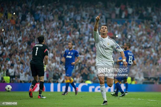 Cristiano Ronaldo of Real Madrid CF celebrates scoring their opening goal during the UEFA Champions League semifinal second leg match between Real...