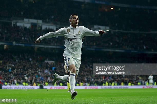 Cristiano Ronaldo of Real Madrid CF celebrates scoring their second goal during the La Liga match between Real Madrid CF and Real Sociedad de Futbol...