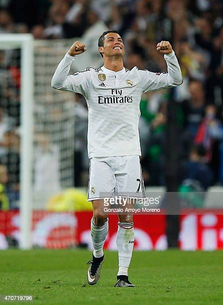 Cristiano Ronaldo of Real Madrid CF celebrates victory after the UEFA Champions League quarterfinal second leg match between Real Madrid CF and Club...