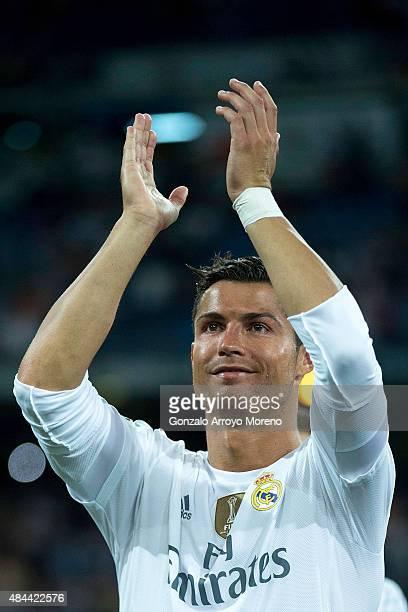 Cristiano Ronaldo of Real Madrid CF celebrates winning the Santiago Bernabeu Trophy match between Real Madrid CF and Galatasaray at Estadio Santiago...