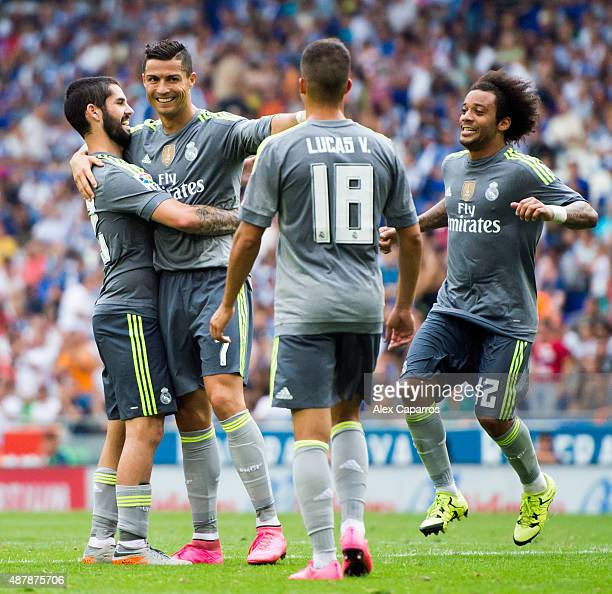 Cristiano Ronaldo of Real Madrid CF celebrates with his teammates Francisco Alarcon 'Isco' Lucas Vazquez and Marcelo after scoring his team's sixth...