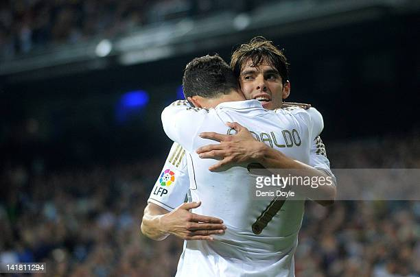 Cristiano Ronaldo of Real Madrid CF celebrates with Kaka after scoring his team's second goal during the La Liga match between Real Madrid CF and...