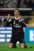 Cristiano Ronaldo of Real Madrid CF claims for a penalty shot during the La Liga match between Rayo Vallecano de Madrid and Real Madrid CF at...