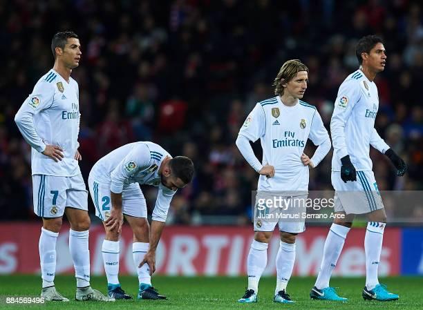 Cristiano Ronaldo of Real Madrid CF Daniel Carvajal of Real Madrid CF Luka Modric of Real Madrid CF and Raphael Varane of Real Madrid CF looks on...
