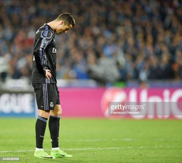Cristiano Ronaldo of Real Madrid CF during the UEFA Champions League Round of 16 second leg match between SSC Napoli and Real Madrid CF at Stadio San...