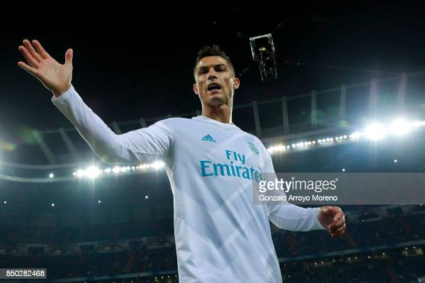 Cristiano Ronaldo of Real Madrid CF gestures as he leaves the pitch after his warmingup before the La Liga match between Real Madrid CF and Real...