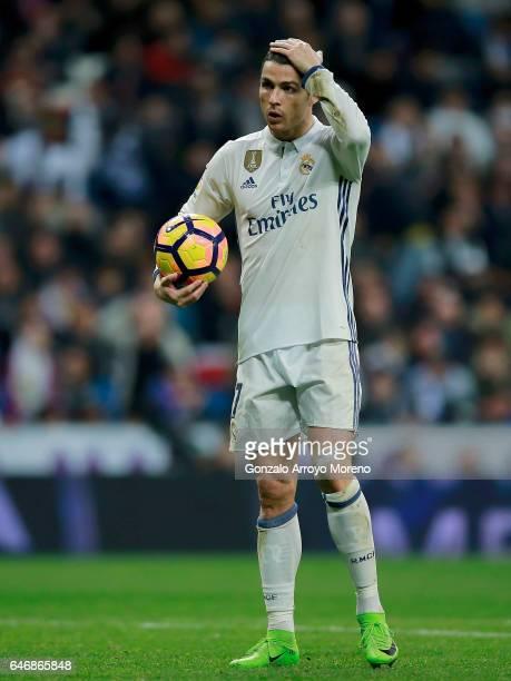 Cristiano Ronaldo of Real Madrid CF gestures before shooting a penalty shot during the La Liga match between Real Madrid CF and UD Las Palmas at...