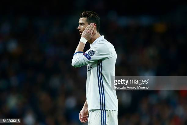 Cristiano Ronaldo of Real Madrid CF gestures during the UEFA Champions League Round of 16 first leg match between Real Madrid CF and SSC Napoli at...