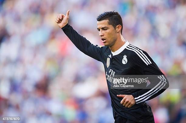 Cristiano Ronaldo of Real Madrid CF gives thumbs up during the La Liga match between RCD Espanyol and Real Madrid CF at CornellaEl Prat Stadium on...