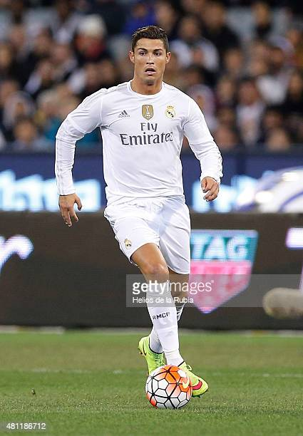 Cristiano Ronaldo of Real Madrid CF in actions during the international friendly match between Real Madrid and AS Roma at Melbourne Cricket Ground on...
