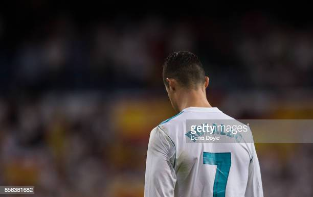 Cristiano Ronaldo of Real Madrid CF leaves the pitch after Real beat Espanyol 20 during the La Liga match between Real Madrid and Espanyol at Estadio...