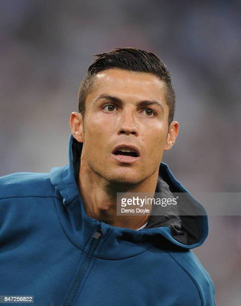 Cristiano Ronaldo of Real Madrid CF linesup for the UEFA Champions League group H match between Real Madrid and APOEL Nikosia at Estadio Santiago...