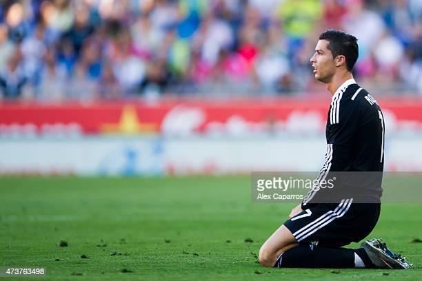 Cristiano Ronaldo of Real Madrid CF looks dejected during the La Liga match between RCD Espanyol and Real Madrid CF at CornellaEl Prat Stadium on May...