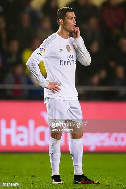 Cristiano Ronaldo of Real Madrid CF looks dejected during the La Liga match between Villarreal CF and Real Madrid CF at El Madrigal on December 13...