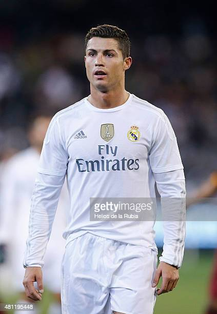 Cristiano Ronaldo of Real Madrid CF looks on during the international friendly match between Real Madrid and AS Roma at Melbourne Cricket Ground on...