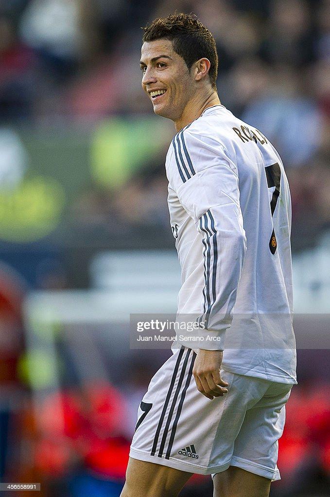 Cristiano Ronaldo of Real Madrid CF looks on during the La Liga match between CA Osasuna and Real Madrid CF at Estadio Reyno de Navarra on December 14, 2013 in Pamplona, Spain.
