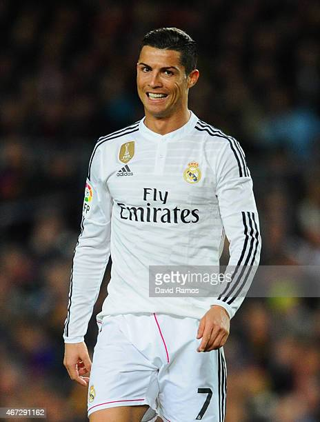 Cristiano Ronaldo of Real Madrid CF looks on during the La Liga match between FC Barcelona and Real Madrid CF at Camp Nou on March 22 2015 in...