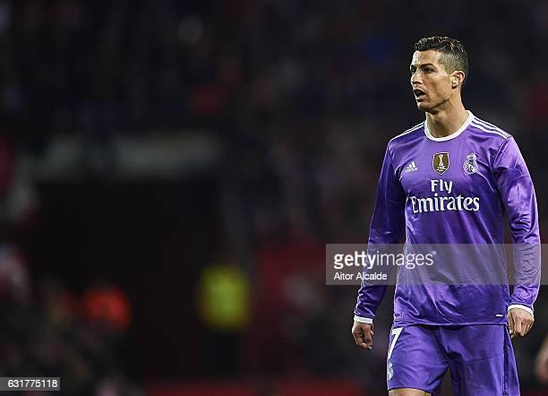 Cristiano Ronaldo of Real Madrid CF looks on during the La Liga match between Sevilla FC and Real Madrid CF at Estadio Ramon Sanchez Pizjuan on...