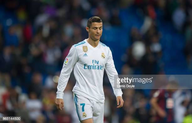 Cristiano Ronaldo of Real Madrid CF looks on during the La Liga match between Real Madrid and Eibar at Estadio Santiago Bernabeu on October 22 2017...