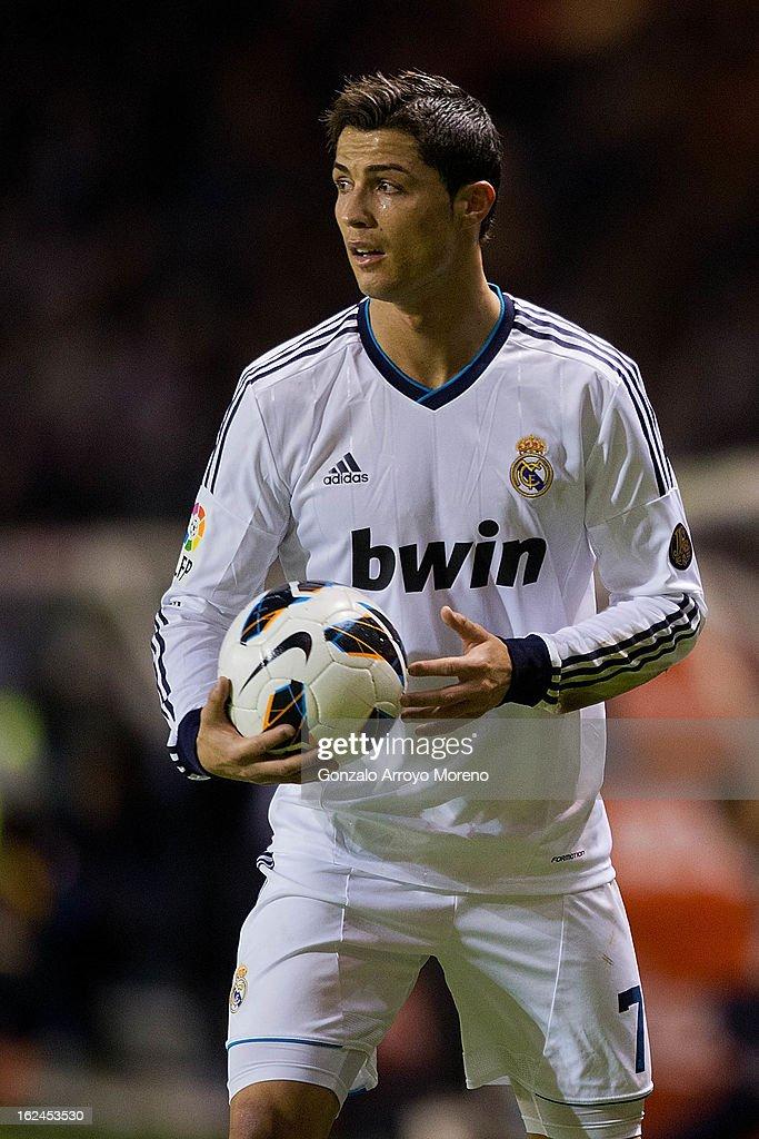 Cristiano Ronaldo of Real Madrid CF picks the ball during the La Liga match between RC Deportivo La Coruna and Real Madrid CF at Riazor Stadium on February 23, 2013 in La Coruna, Spain.
