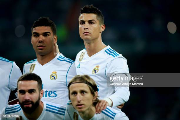 Cristiano Ronaldo of Real Madrid CF poses with his teammates Luka Modric Daniel Carvajal and Carlos Casemiro for the line up prior to start the La...