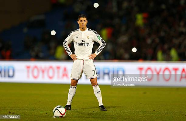 Cristiano Ronaldo of Real Madrid CF prepares to take a free kick during the FIFA Club World Cup Final match between Real Madrid CF and San Lorenzo at...