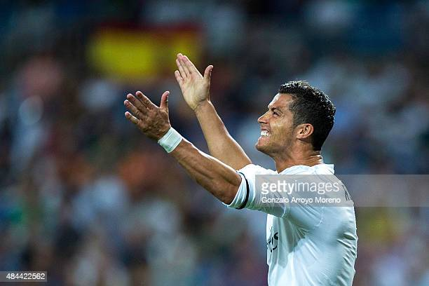 Cristiano Ronaldo of Real Madrid CF reacts after failing to score during the Santiago Bernabeu Trophy match between Real Madrid CF and Galatasaray at...