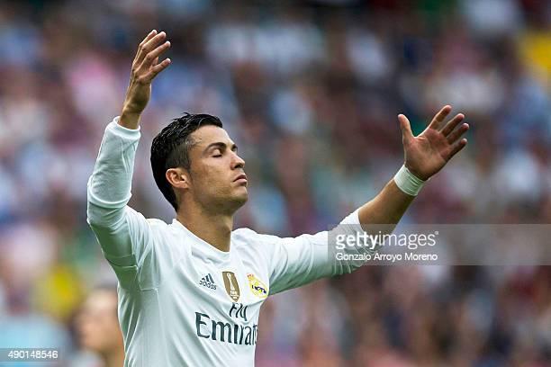 Cristiano Ronaldo of Real Madrid CF reacts as he fail to score during the La Liga match between Real Madrid CF and Malaga CF at Estadio Santiago...