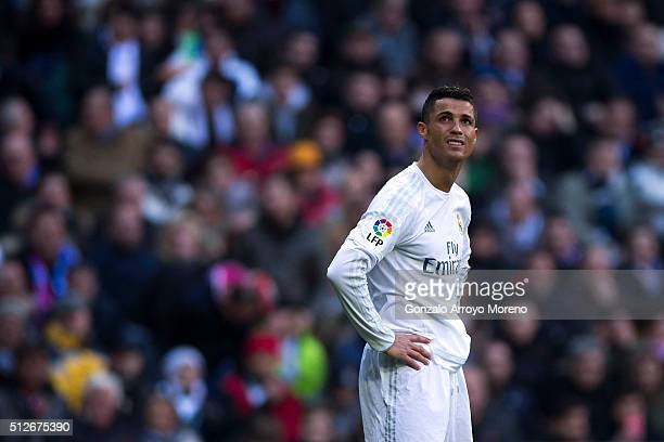 Cristiano Ronaldo of Real Madrid CF reacts as he fail to score during the La Liga match between Real Madrid CF and Club Atletico de Madrid at Estadio...