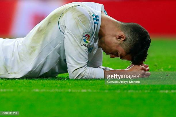 Cristiano Ronaldo of Real Madrid CF reacts as he fail to score during the La Liga match between Real Madrid CF and Real Betis Balompie at Estadio...