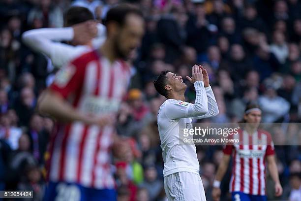 Cristiano Ronaldo of Real Madrid CF reacts as he fails to score during the La Liga match between Real Madrid CF and Club Atletico de Madrid at...
