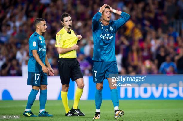 Cristiano Ronaldo of Real Madrid CF reacts as he is shown a red card during the Supercopa de Espana Supercopa Final 1st Leg match between FC...